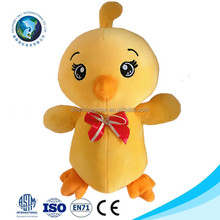 2017 Cheap lovely stuffed chicken toy with music promotional custom cute yellow soft plush chicken