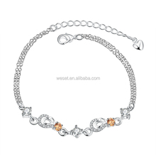 High Quality 925 Silver Plated Pave Settings Crystal Copper Alloy Charms Bali Bracelet