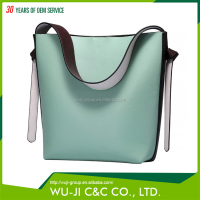 Top Grain Lady Leather Women's Color Block Hobo Leather Diaper Bag