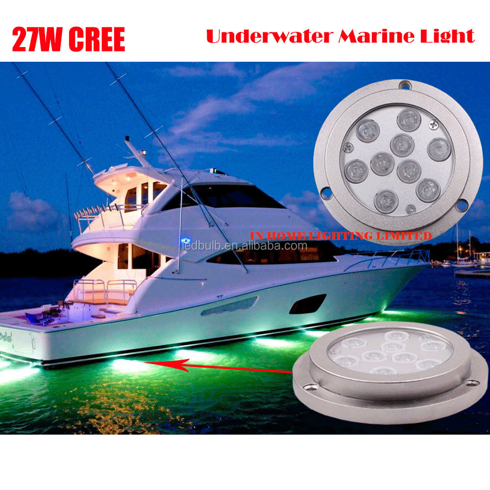 3 Years Warranty IP68 Underwater Marine Led Lights, Stainless steel 316 27W led Yacht Lights