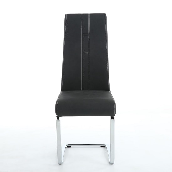 Wholesale Black leather modern metal chrome restaurant chair dining chair
