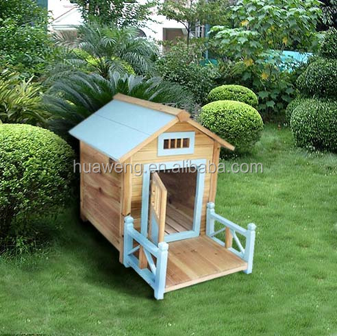 Luxious outdoor wooden dog house with balcony