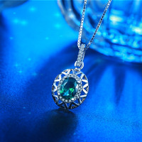 Top quality N6 Superwoman's Gold Pendant Necklace with Bule Sapphire