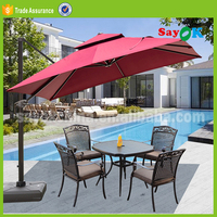 aluminium beer garden/beach parasol straw outdoor umbrella with lighted handle