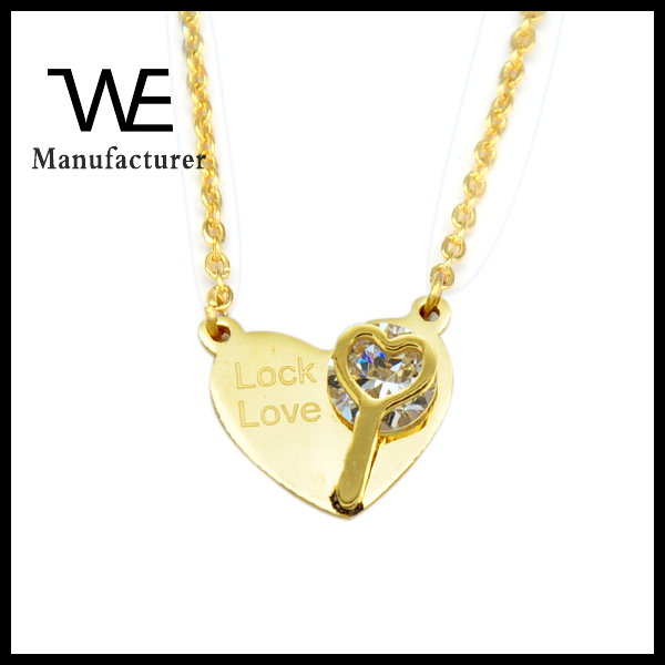 Stainless Steel Gold Link Chain Jewelry Heart Pendant Lock Love Necklace