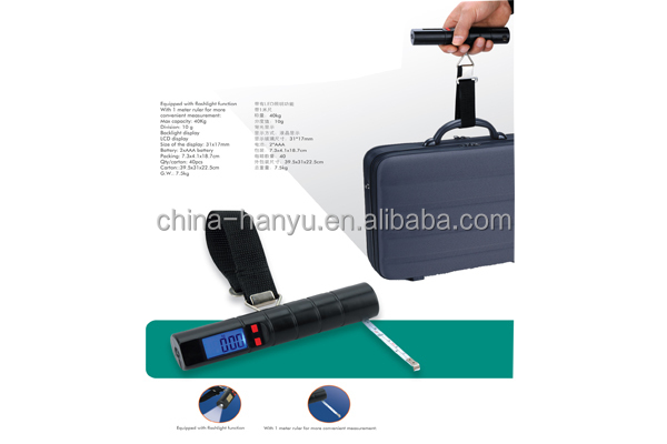 protable digital luggage weighing scale with flashlight