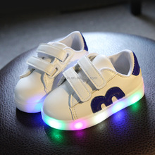 New children light up shoes kids led white sports shoes