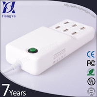 Travel accessories phone charger station 6 port usb charger with intelligent switching