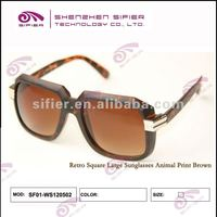 Square Oversized Acetate Retro Brown Sunglasses