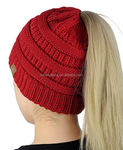 Winter Outdoor Girl ponytail beanie hat knitted beanie hat with hair hole