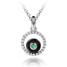 2015 SJ Factory Costume Jewelry SJLB-0302 Fashion Round Pendant Cubic Zirconia Rhodium Plated Ceramic Brass Necklace for Women