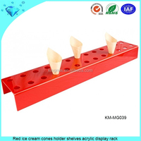 Red ice cream cones holder shelves acrylic display rack