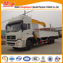 Dongfeng 270HP tri-axle 10 ton truck with crane