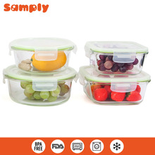 FDA Custom logo glass food container set