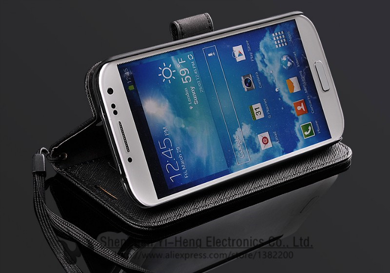 Leather Cases for Samsung Galaxy S4 S5 Luxury Free Screen Protector Phone Wallet Bag for i9500 Flip Cover Stand holder