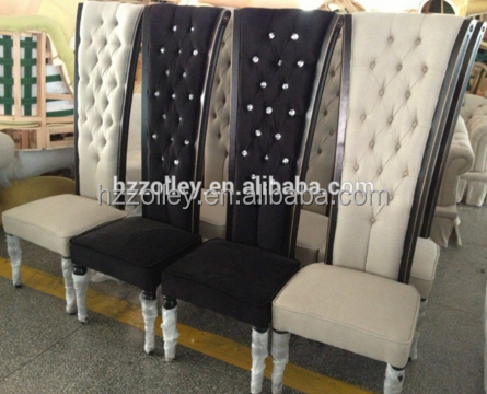High back luxury linen fabric button tufted king queen throne chair