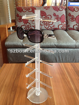 White Crystal Rod Resin Sunglasses Display Holder,PMMA Sunglasses Rack,Resin Sunglasses Display Holder