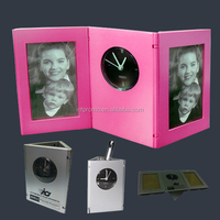 foldable photo frame with quartz clock and pen holder