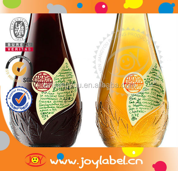 Custom printing fruit juice bottle labels