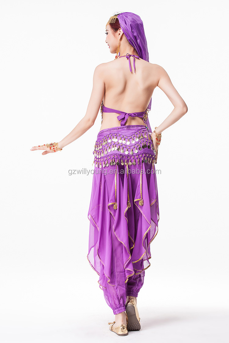2015 Professional Hot Belly Dance Cheap Indian Costumes Top & Pant 7pcs/unit