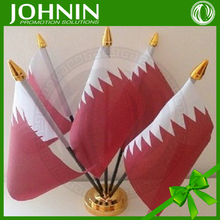 free shipping Promotional polyester printed national Day Qatar table flag