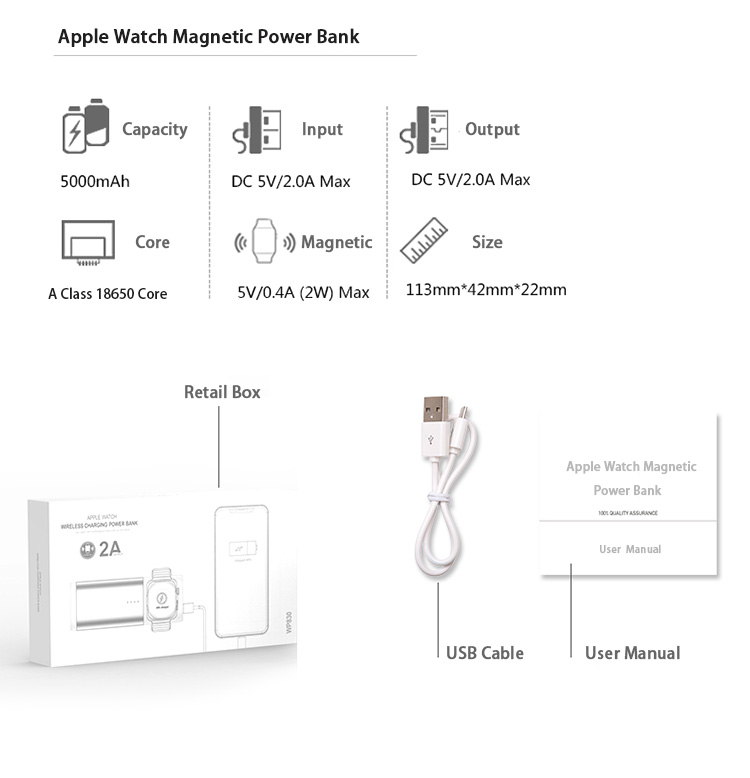 BrandNP mini qi magnetic wireless power bank for apple watch
