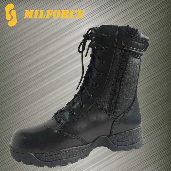 black military police uniform shoes ranger boot heavy duty leather walking boot