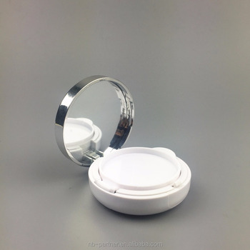 Trade Assurance empty 15g round pearl white silvery rim cosmetic PP air cushion BB Cream container with mirror