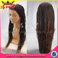 Wholesale Full Factory Supply 6A Natural Black micro braided lace front wigs