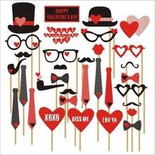 33Pcs/sets Of Wedding Creative Carton Photo Props Party Beard/Glasses/Llove/Bow Funny Modeling Props Birthday Party Props