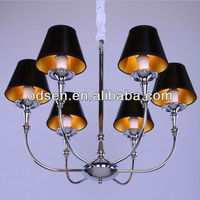 Tiffany style black shade chandelier with six lights