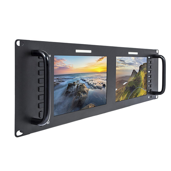 Feelworld D71 Dual 7 Inch 3RU IPS 1280x800LCD Rack Mount Monitor with 3G-SDI HD AV Input and Output Broadcast <strong>battery</strong> powered