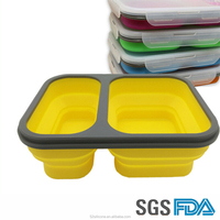 Hot selling BPA Free Food Grade Leakproof portable folding plastic silicone lunch box