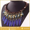 Best Selling New Design Fabric China Purple Feather Antique Gold Collar Necklace