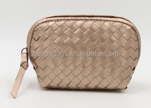Factory custom gold color luxury woven pu leather cosmetic bag