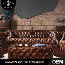 retro cheaterfield leather luxury button sofa set A111