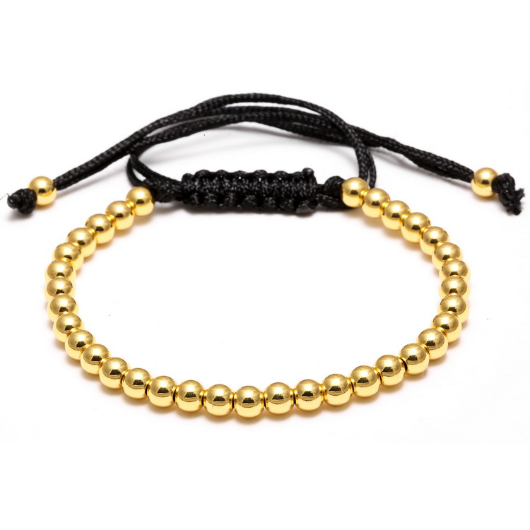 Jewellery Wholesales Gold Plating Hematite Beads Black Rope Adjustable Helmet Bracelets for Men
