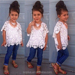 SFL1510078 European And American Hollow T Shirt + Jeans + Small Tape 3Pcs Sets Clothing Girls For Children