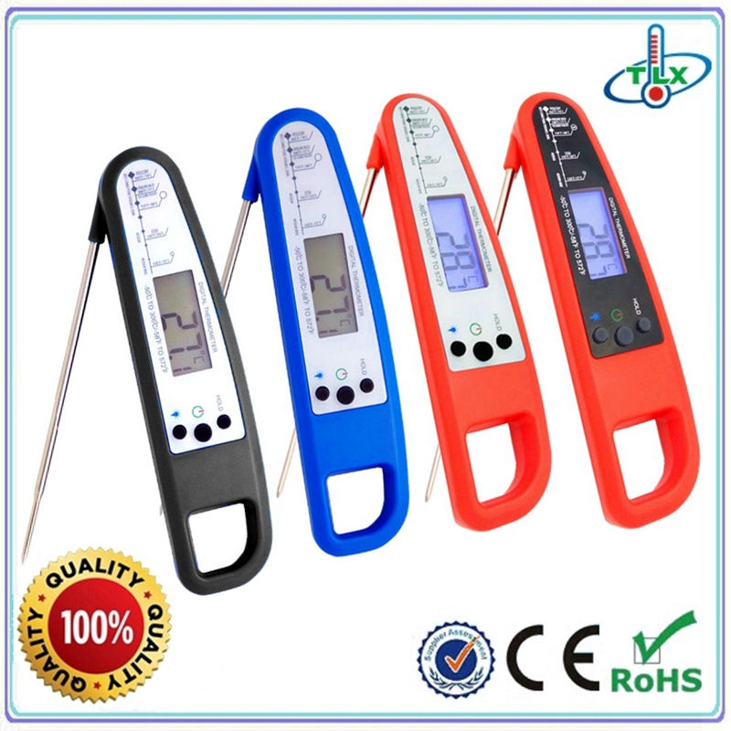 Instant read digital food thermometer bbq meat stainless steel thermometer