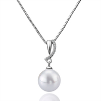 SJLKNPLP025 New Arrival Solitaire Micro Pave CZ Plastic Pearl Rhodium Plating Brass Imitation Plastic Pearl Dangle Necklace