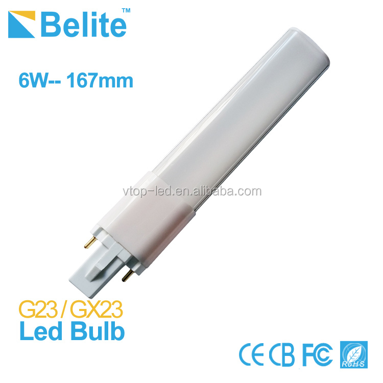 High bright 6w PL G23 led bulb, replace 13w traditional lamp