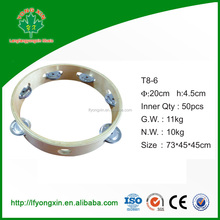 T8-6.2015 Hot Sale Natural Wood Tambourine For School Teaching Aids