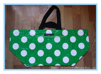 Green extra large laminated tote ikea bag, PP Ikea bag with zip pocket