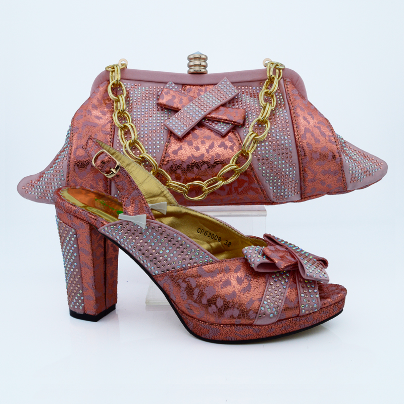Beatiful italian gold matching shoes and bag set for women CP63008PEACH
