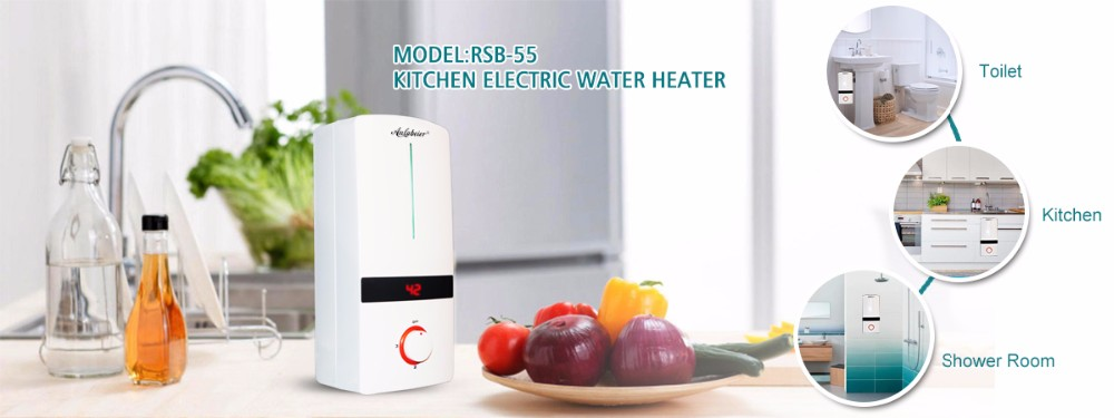 Red 5500W Electric Instant Water Heater Tankless Shower Hot Water System for Bathroom Kitchen Washing 220V Mini Water Heater