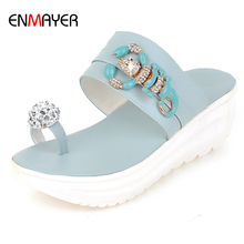 Hot sale girls fancy thick sole jewelry decorated summer slippers