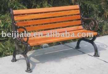 outdoor park wooden bench