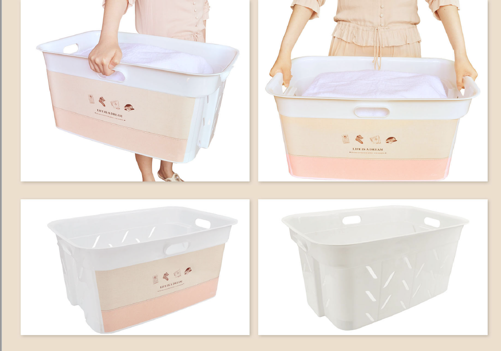 Haiice 44L wholesale factory cheap price IML plastic laundry basin basket bucket for bathroom with various beatiful designs