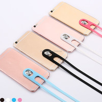 Silicone Phone Back Case Lanyard Rope Phone Case For iPhone 6S 6 Plus