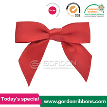 ribbon pre-tied bow / red polyester satin bows / red satin ribbon pre-made bows